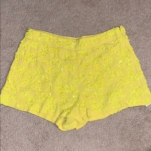 French Connection Beaded Yellow Shorts